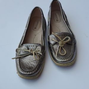 Sperry top siders silver sparkle Loafer 8Mnt